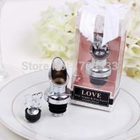 Wholesale Chrome Pourer Bottle Stopper - 100PCS LOT Love Chrome Pourer Wine Bottle Stopper Bridal Shower Wedding Favors DHL Fedex Free shipping