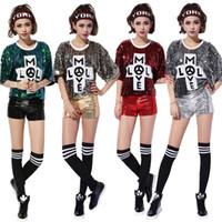 kadın kıyafetleri için ücretsiz gönderim toptan satış-Ücretsiz Kargo Gece Kulübü Ds Kadın T-shirt Gösterisi Kostümleri Yeni Kadın Performans Caz Dans Elbise Hip Hop Kostüm Payetli Gömlek