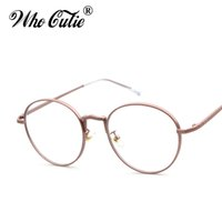 Wholesale women optical frames metal - WHO CUTIE Round Clear Fake Glasses 2017 Women Circle Optical Lens Eyewear Retro Gold Metal Frame Plain Eyeglasses Oculos OM365