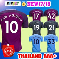 Wholesale Man City Soccer Jerseys - Kun Aguero Soccer Jersey 2018 Purple City jersey KOMPANY TOURE YAYA DE BRUYNE SANE MENDY STERLING SILVA JESUS 17 18 Man football shirts
