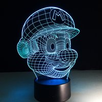 Wholesale led christmas light colors - Christmas Decoration Light Super Mario 3D Optical Night Light 7 Colors Changeable USB LED 3D Touch Night Light Acrylic Panel Light