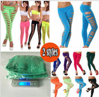 Wholesale Wholesale Yoga Clothing For Women - 16 Color Women Candy hollow Leggings yoga pants for Genie Sexy Gym Pant Sports Trousers Skinny Fitness tights running clothes Women Clothing