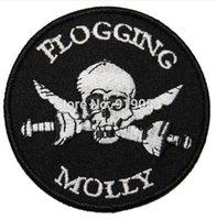 Wholesale Sword Iron - Flogging Molly Skull & Cross Swords patch Heavy Metal Music Rock Punk Rockabilly woven sew on iron on badge transfer