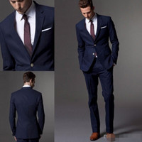 Wholesale Bespoke Suits Men - Custom Made Dark Blue Men Suit, Tailor Made Suit, Bespoke Light Navy Blue Wedding Suits For Men, Slim Fit Groom Tuxedos For Men