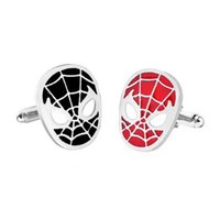 spider french - Moive Jewelry Spider Man Cufflinks French Men Shirts Silver Plated Black Red Cuff Links For Gift