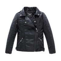 Wholesale Leather Jackets Children Girls - Teenager Baby Boys Leather Jacket Boys Casual Black Solid Children Outerwear Kids Girls Coats Spring Leather Jackets 2016 New