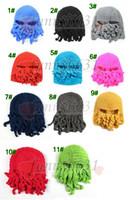 Wholesale Woollen Caps Men - MOQ=10PCS winter Crochet hand-made octopus hat for man and woman Adult hat Octopus ski cap Woollen beard hat 11colors free shipping