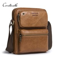Wholesale Cowhide Leather Bags Men - CONTACT'S 2017 New Arrival Genuine Cowhide Leather Men's Cross Body Bag Shoulder Bags For Men Messenger Bag Portfolio