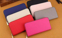 Wholesale Single Card Holder - Hot! wholesale 2017 M KALLY famous brand fashion single zipper cheap luxury women pu leather wallet lady ladies woman long purse