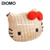 2a2649d8d56c dhgate Hello kitty women handbags rattan straw girl s beach bag cartoon  fabric high quality shoulder bags for girls