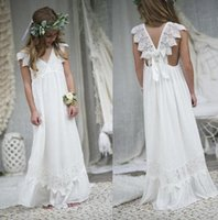 Wholesale Girls White Chiffon Ruffle Dress - 2017 New Arrival Boho Flower Girl Dresses For Weddings Cheap V Neck Chiffon Lace Formal Beach Wedding Dress Custom Made