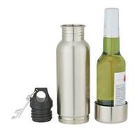 Wholesale Stainless Steel Ice Buckets - Stainless Steel Beer Vacuum Flask Beer Bottle Armour Koozie Keeper Armour Bottle Koozie Insulator with Bottle Opener