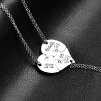Wholesale personalized heart charms - 3 Piece Heart Personalized Hand Stamped big sis middle sis little sis 3 Sister Necklace Family Jewelry Sisters Gift 162116