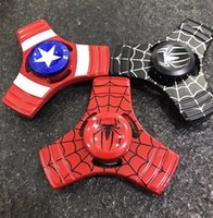 Wholesale Super Top Spinning Toy - Super hero Spiderman Hand Spinner Triangle Alloy The Avengers Superhero fidget spinner Finger gyro Toy EDC Spinning top free drop Shipping