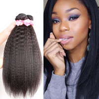 Wholesale chinese remy kinky straight hair resale online - Brazilian Human Remy Virgin Hair Kinky Straight Hair Weaves Natural Color g bundle Double Wefts Bundles Hair Extensions