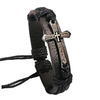 Wholesale Indian Braid Jewelry - 12PCS Adjustable Bracelet For Women Men Jewelry Braid Genuine Leather bracelet Wrap Charm Cross Bracelets Bangles Fashion Jewelry
