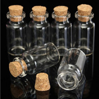Wholesale Cheap Glass Bottle - 10pcs 5ml Mini Clear Cork Stopper Glass Bottles Containers Small Bottle Clear Glass Bottle Wishing Tiny Wedding Bottle cheap glass jar S020C
