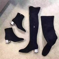 New Chegada Mulheres Top Moda Rhinestone Thigh-High Botas Soft Suede couro rebanho Toes Pointed Over-the-Knee High Chunky Heel Boots