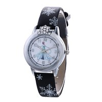 Wholesale Gilrs Watches - 100 pcs Fashion Kids Watch Frozen Cartoon Watches Quartz Watches Leather Wristband Rhinestone Crown Anna Elsa Wristwatch For Gilrs Gift