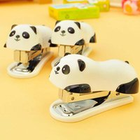 Wholesale Manual Binder - Wholesale mini panda stapler set cartoon office school supplies stationery paper clip Binding Binder book sewer