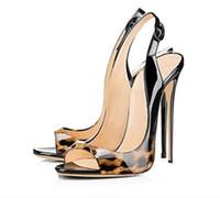 Wholesale high heel shoes leopard - 2017 leopard High Heels party Shoes Peep toe Women Pumps gradient color Pumps dress Shoes Thin Heel 12cm heel