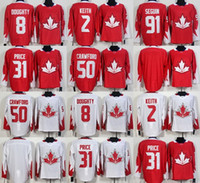 Wholesale Kids Size Hockey Jerseys - 2016 WC Ice Jerseys RED WHITE 8 Doughty 2 Keith 91Seguin 31Price 50Crawford Blank Ice Hockey Jerseys Men's Women's Kids' Size S~XXXL cheap