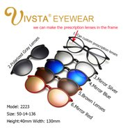 Wholesale Reading Sunglasses - IVSTA 2017 Buy one get 5 Magnetic Clip Sunglasses Women Glasses with Magnetic Clip on Sunglasses Cat eye Polarized 2223 Reading Frame