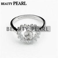 Wholesale Bulk Heart Rings - Bulk of 3 Pieces Ring Blanks Zircon Adorned 925 Sterling Silver Finding Heart Pearl Ring Mount