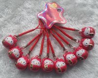 Wholesale cell phone lucky charm resale online - New lovely red Lucky Cat DARUMA Hello Kitty Bell Cell Phone Charm Strap