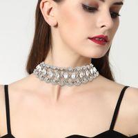 Wholesale Lady Super Hot - hot sale Fashion necklace jewelry lady woman metal alloy luxury super glittering full rhinestone flower collar diamond choker