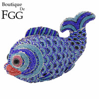 Wholesale Leather Handmade Key Bag - Wholesale- Hollow Out Handmade Blue Crystal Fish Mini Evening Clutches Party BagRhinestones Wedding Clutch Bridal Purse Women Shoulder Bags