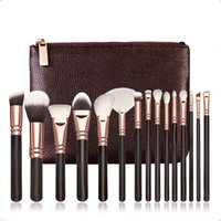 set precio bajo del maquillaje del cepillo al por mayor-Z MAKEUP BRUSH SET Set Profesional de Lujo Maquillaje Kit de Herramientas Z 15 PCS ROSE GOLDEN Powder Blending pinceles free epacket
