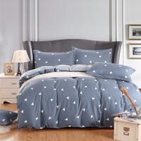 Wholesale King Style Briefs - Wholesale- Brief style geometric print gray bedlinens soft polyester fiber 3 4pcs duvet cover set Twin Double Queen size bedding set