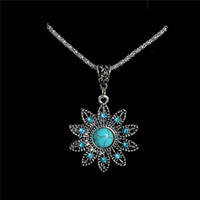 Wholesale Vintage Antique Silver Long Chains - Wholesale-Wholesale Antique Silver Vintage Hollow Flower Pendant Necklace Turquoise Long Necklace Sweater Chain TL178 FREE SHIPPING