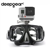 Wholesale Gopro Silicon - adult Professional adult diving for gopro soft liquid silicon scuba mask ultra clear tempered glass snorkel mask camera diving