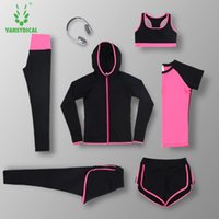Marke 2017 Neue 6pcs Yoga Sets Frauen Gym Clothes Polyester Blends Material Breathable Sport BH + Hosen + Shirt Yoga Set Frauen