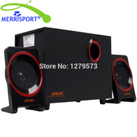 Wholesale laptop wood online - MERRISOIRT Computer Speakers System with Powered Subwoofer for Desktops Laptops PC Tablets MP3 Players Home Theaters Black
