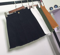 Wholesale Korean Slim Skirt - Spring And Autumn Korean Fashion High Waist Solid Color A-line Denim Tassel Slim Hip Casual White Skirts Women Free Shipping