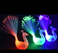 Wholesale Fiber Optic Peacock - LED Flashing Peacock Fiber Optic Finger Lights Rings for Raves or Party FavorParty Nightclub Color Rings Optical Fiber Lamp Kids Children