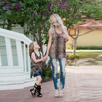 Wholesale woman children matching clothing resale online - mother and daughter clothes family matching Leopard tees baby clothing girls vest clothes children lady fashion women T shirts QZZW059