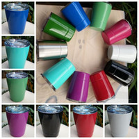 Wholesale Double Wall Coffee Glasses - 10 Colors 9oz Tumbler Stainless Steel Wine Glass Cocktail Glasses Double Wall 9oz Coffee Drinkware Mugs With Straw And Lid CCA6318 50pcs