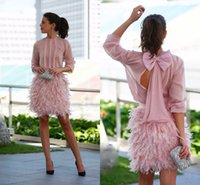 Wholesale elegant short feather prom dresses - Pink 2017 Prom Dresses A-line 3 4 Sleeves Short Mini Chiffon Feather Open Back Short Elegant Cocktail Party Mini Homecoming Dress