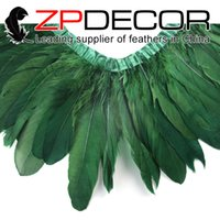 Made in ZPDECOR Factory 15-20cm (6-8 inch) Dyed all'ingrosso Kelly Green Goose Wing Nagoire e Satinettes Fashion Feather Trim per cappotto