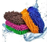 Wholesale Chenille Towels Wholesale - 9 colors Microfiber Snow Neil fiber high density car wash mitt car wash gloves towel cleaning gloves G041
