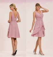 Wholesale Layered Chiffon Bridesmaid Dresses - Charming Blush Chiffon Short Bridesmaid Dresses Cheap 2017 V Neck Layered Skirts Knee-Length Pleated Maid Of Honor Dress Wedding Guest Gowns