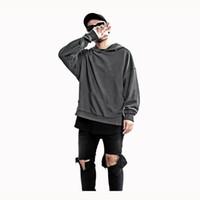 camisa verde longa venda por atacado-Kanye West Estendido Longo Camisa Homens Hip Hop Exército Verde Manga Longa Hoodies Justin Bieber Roupas Frete grátis