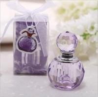 botella de perfume de boda al por mayor-K9 artesanías de cristal perfume en forma de botella regalo de bienvenida al bebé púrpura y rosa la boda favorece la decoración (no puede contener líquido)