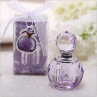 perfume de cristal roxo venda por atacado-K9 artesanato de cristal perfume forma de garrafa de presente do chuveiro de bebê roxo e rosa casamento favores decoração (Não pode conter líquido)