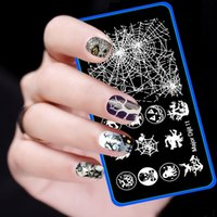 Wholesale Nail Art Halloween Stencils - Wholesale- Halloween Design 6cm*12cm Image Stamp Template Nail Art Stamping Plates Stainless Steel Manicure Stencils For Nails JH427