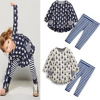 Wholesale Wholesale Easter Outfit Baby - Kids Girls Easter Bunny Sets Baby Girls Rabbit Print T-shirt + Striped Pants 2pcs Suits 2017 Autumn Infant Princess Cartoon Outfits B658